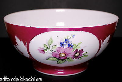 GARDNER 19th Century Imperial Russian Porcelain Red Bowl With Flowers