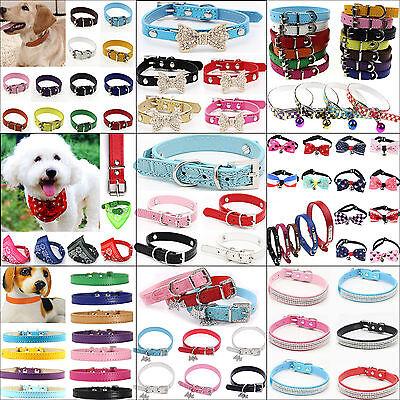 NT Adjustable Pet Dog PU Leather Collar Puppy Cat Buckle Neck Bow Strap 17 Style