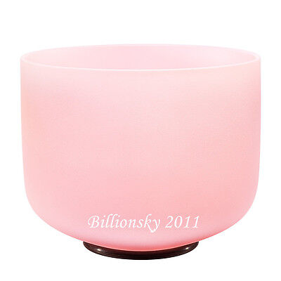 Pink Colored Frosted F Heart Chakra Quartz Crystal Singing Bowl 20 cm