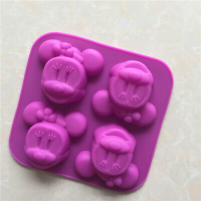 Silicone Minnie Soap Mold Muffin Cupcake Chocolate Cake Mould - 4 Cavity