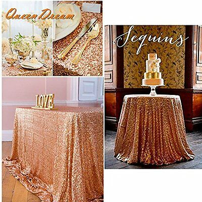 YU Dora 50''x80'' Rectangle Sequin Tablecloth-Rose Gold