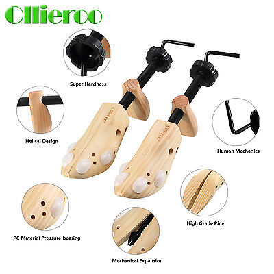 Ollieroo 1 Pair Wooden Shoe Stretcher  5-11 Adjustable Professional Shaper Tree
