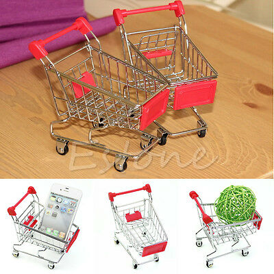Mini Supermarket Handcart Shopping Utility Cart Mode Storage Trolley Toy Gift