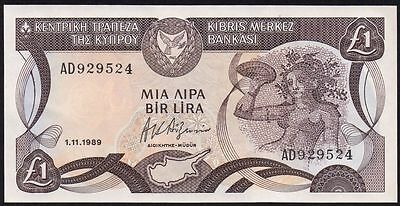1989 CYPRUS £1 BANKNOTE * AD 929524 * EF * P-53a *