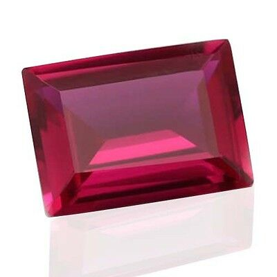 AAA Rated Bright Red Lab Created Ruby Corundum Baguette Gemstone (7X5 - 25x18mm)