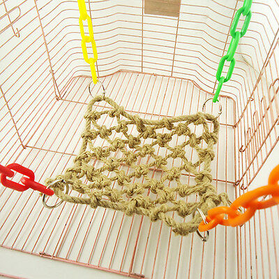 Pet Bird Parrot Parakeet Budgie Cage Rope Net Hammock Swing Toys Hanging Perch