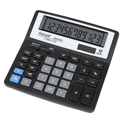 Rebell 12 Digit Tax Calculator Black Dual Power Desk Top Office Large Display