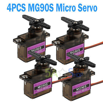 4PCS MG90S Micro Servo Metal Gear High Speed For RC Helicopter Car Boat Futaba