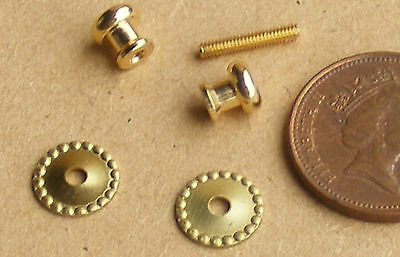1:12 Scale Metal Beaded Door Knob Set Dolls House Miniature DIY Accessory
