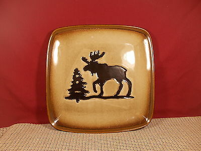 "Homestudio Dinnerware Woodland Pattern Square Dinner Plate 11 3/4"" Cream/Moose"