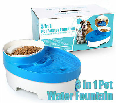 LED Pet Water Drinking Filter Fountain Dog Cat Automatic Drinker Food Bowl Scoop