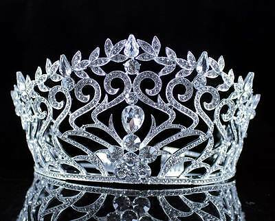 Fancy Beauty Queen Crystal Rhinestone Tiara Crown Hair Combs Pageant T994 Silver