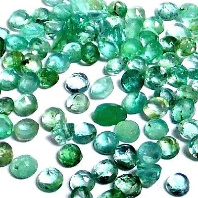 NATURAL EXCELLENT GREEN EMERALD LOOSE GEMSTONE (2 pieces) ROUND (2.2 to 2.3 mm)
