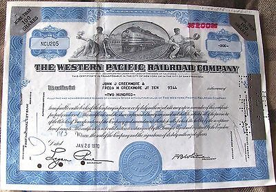 Western Pacific Railroad Company stock certificate more than100 shares, 1970 200