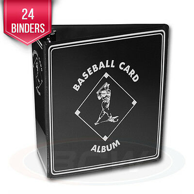 """24 BCW Black Baseball Card Collection 3"""" D-Ring Albums binders books"""