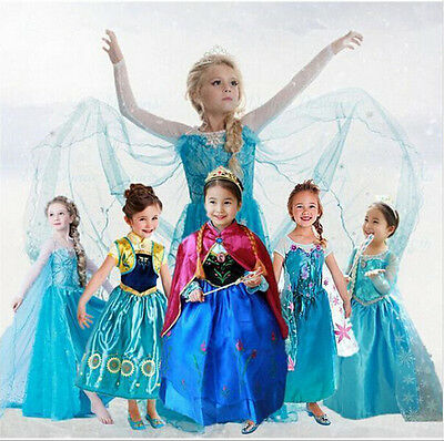 Kids Girls Dresses Elsa Frozen dress costume Princess Anna party dresses-018