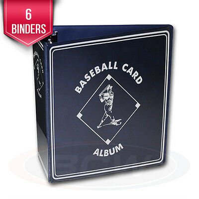 """6 BCW Blue Baseball Card Collection 3"""" D-Ring Albums binders books"""