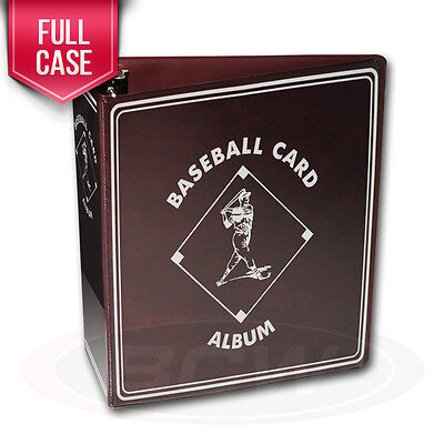 """Case of 12 BCW Burgundy Baseball Card Collection 3"""" D-Ring Albums binders books"""