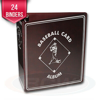 """24 BCW Burgundy Baseball Card Collection 3"""" D-Ring Albums binders books"""