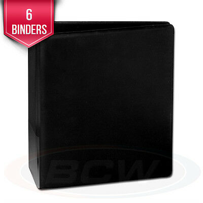 """6 BCW Plain Black Trading Card Collection 2"""" D-Ring Albums binders books"""