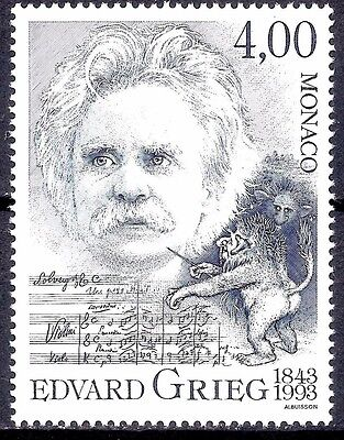 Monaco 1993 Edvard Grieg Composers Music Entertainment Arts People 1v MNH