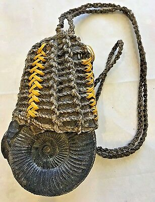 Ancient Large Ammonite Fossil West Papua New Guinea Tribal Pendant Necklace
