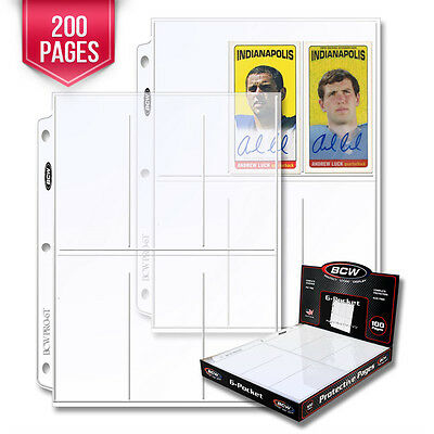 200 BCW Pro 6-Pocket Pages - Holds Six (6) - 2 1/2 x 5 1/2 Cards or Photos