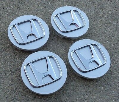 "Honda Set 4 Silver wheel rim center cap insert emblem 2.75"" 69mm Civic Accord"