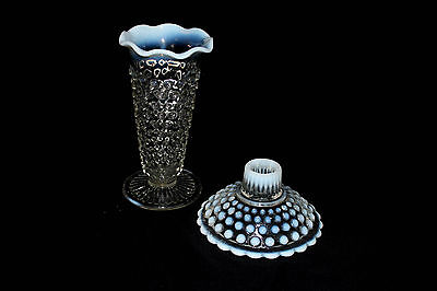 Vintage Moonstone Vase & candle holder Anchor Hocking Opalescent Hobnail