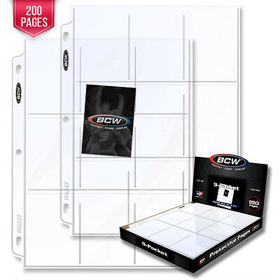 200 BCW Pro 9-Pocket Pages - Holds Nine (9) - 2 1/2 x 3 1/2 Cards or Photos