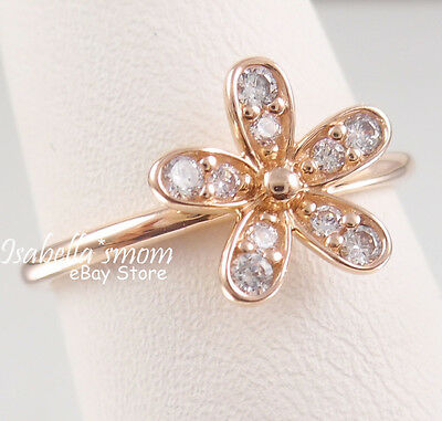 56732a3a561 DAZZLING DAISY Genuine PANDORA Silver ROSE GOLD Plated Cz FLOWER Ring 4.5 48  NEW