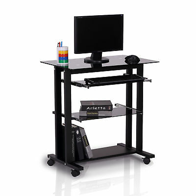 HOMCOM Computer Workstation Glass PC Laptop Desk Table Stand w/ Wheels Black