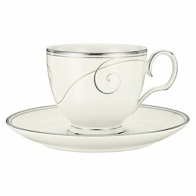 NEW Noritake Platinum Wave Tea Cup & Saucer Set