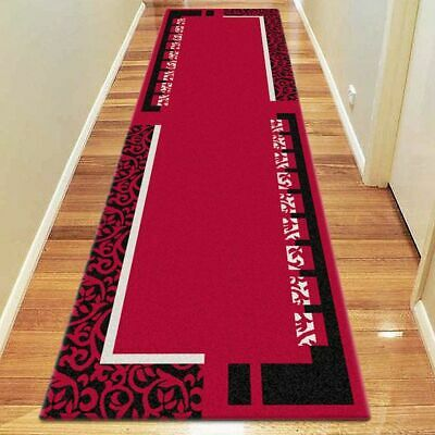NEW Saray Rugs Patch Pattern Modern Runner Rug in Black, Red