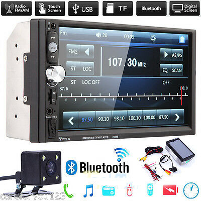 """7"""" Double 2DIN HD Car MP5 MP3 Player Bluetooth Touch Screen Stereo Radio +Camera"""