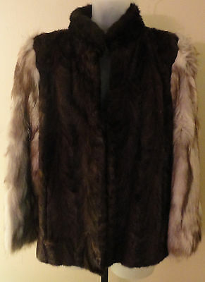 Womens Brown Mahogany Mink Fur Jacket Fox Section Sleeves Preowned