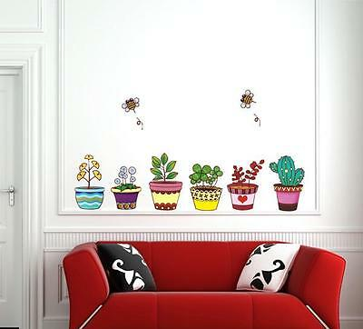 Flower potting & bees stickers wall Decal Removable Art PVC Decor Home Au
