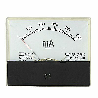 1×DC 500mA Analog Panel AMP Current Meter Ammeter Gauge 44C2 DC 0-500mA