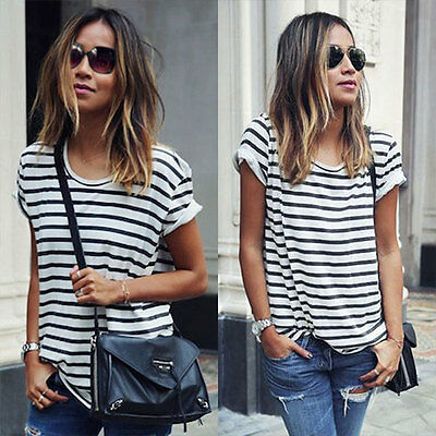 Womens Ladies Striped Cotton Casual Summer Loose Tops Short Sleeve Blouse TShirt
