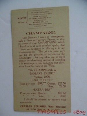 1910 Charles Bellows Wine Merchant Mozart Freres French Champagne Trade Card NYC