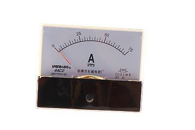 1×DC 75A Analog Panel AMP Current Meter Ammeter Gauge 44C2 0-75A DC