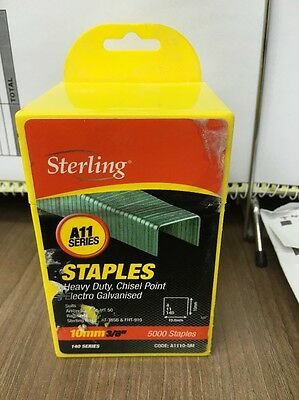 """5000 x Sterling 10mm 3/8"""" Heavy Duty Chisel Point Electro Galvanised Staples"""