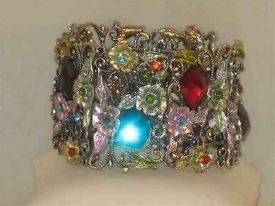 NEW SILVERTONE UNIQUE 7 JOINTED SECTIONS W/COLORED FLOWERS & LG CRYSTALS a261