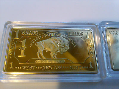 ONE 1 OZ Buffalo 99.9% Pure Brass Bullion Art Bar Ingot
