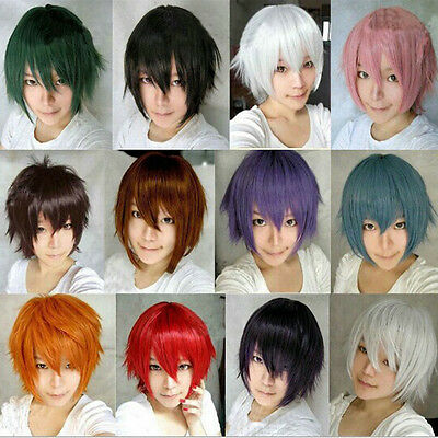 Fashion Straight Short Full Wigs Cosplay Party Hair Wig Suit men women boy girl