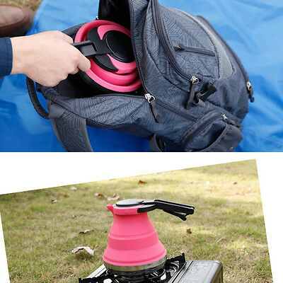 1pc Outdoor Portable Collapsible Kettle Folding Pop-Up Gas Stove Hot Water Pot