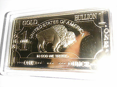 ONE 1 OZ Buffalo Gold Plated Brass Bullion Art Bar Ingot