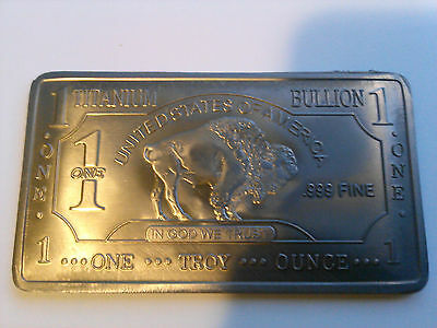 ONE 1 OZ Buffalo 99.9% Pure Titanium Bullion Art Bar Ingot