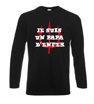 T-shirt noir homme manches longues fruit of the loom JE SUIS UN PAPA D'ENFER