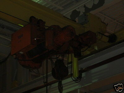 Yale 10 Ton 27.5' Single Girder Top Running Overhead Bridge Crane